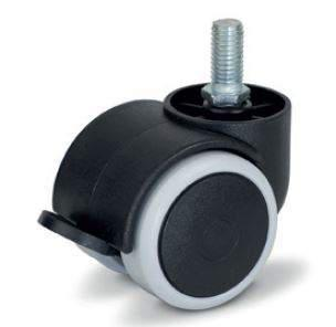 Bútorgörgő, M10 menetes, fékezhető gumis futófelület