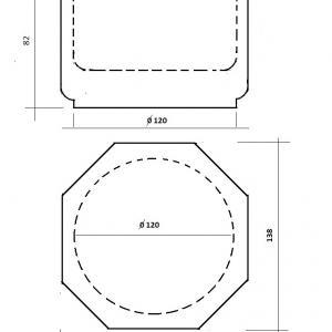 Nyolc szögletű tömörfa díszdoboz