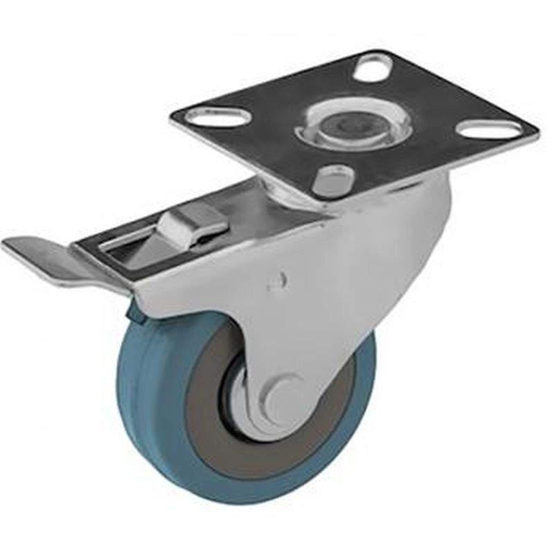 Kék gumis kerék talpas felfogatással, forgó fékes
