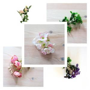 Selyem- műanyagvirágok, zöldek, termések
