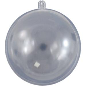 Átlátszó műanyag gömb, három részes. Átmérő: 10 cm
