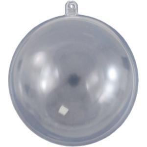 Átlátszó műanyag gömb, három részes. Átmérő: 8 cm