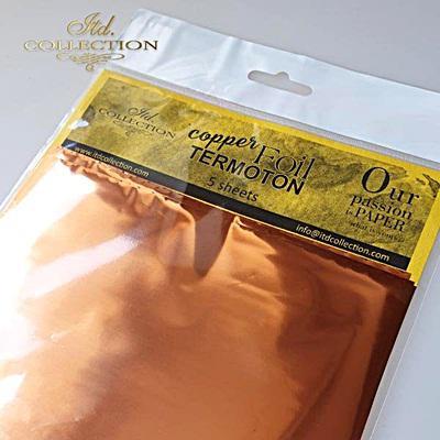 Dekorfólia, réz, 5 lap/csomag. Mérete: 155x155 mm