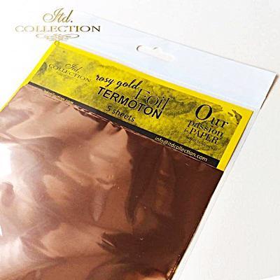 Dekorfólia, rosegold, 5 lap/csomag. Mérete: 155x155 mm.