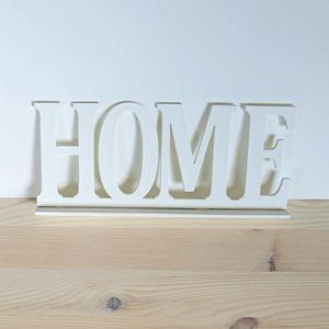 Fehér fa HOME felirat, talpas. Mérete: 25x10 cm