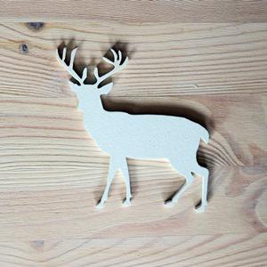 Fehér fa szarvas, mérete: 10x10 cm