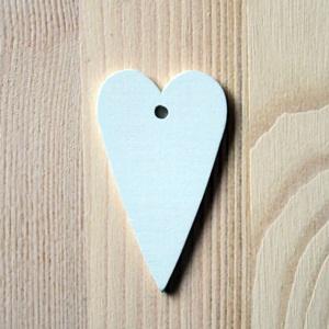 Fehér hosszú szív, mérete: 3,5x6 cm