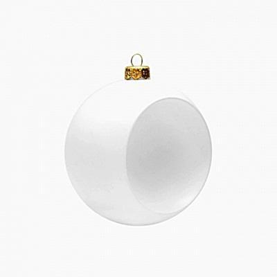 Fehér műanyag gömb mélyedéssel, mérete: 8 cm