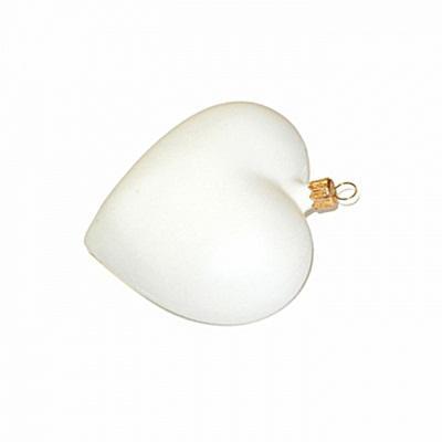 Fehér műanyag szív, mérete: 10 cm