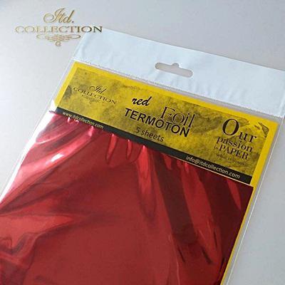 Fémfólia, piros, 5 lap/csomag. Mérete: 155x155 mm