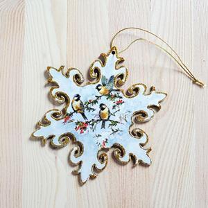 Francia csillag madarakkal, arany széllel, átm. 15 cm.