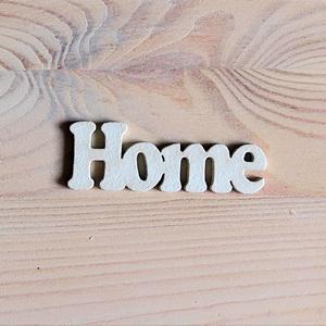 Home felirat, fehér. Mérete: 7x2,5 cm