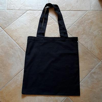 Hosszú fülű vászon bevásárlótáska, fekete, mérete: 38x42cm
