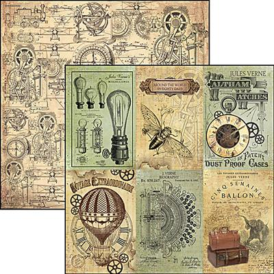 Kétoldalas scrapbook papír - Verne cards