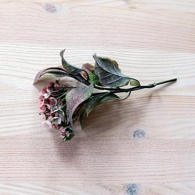 Korall virág csokor, rózsaszínes. Mérete: 12 cm (teljes hossza 15 cm)