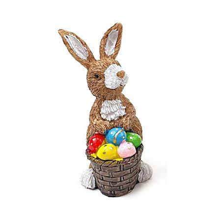 Kosaras nyuszi figura tojásokkal, poly. Mérete: 120x40x35 mm
