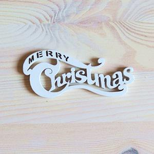 Merry Christmas felirat - fehér. Mérete: 10x4,4 cm