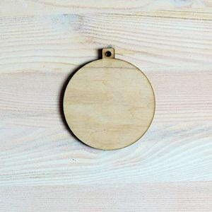 Natúr fa karácsonyfadísz alap, kerek. Átmérő: 8cm