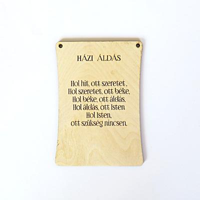 Natúr fa tábla – Házi áldás. Mérete: 105x150 mm