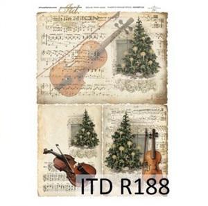 Rizspapír - karácsonyfa hegedűvel