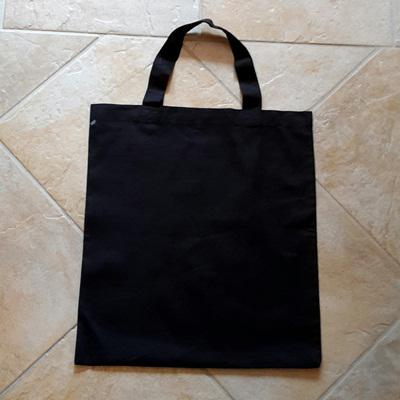 Rövid fülű vászon bevásárlótáska, fekete, mérete: 38x42cm