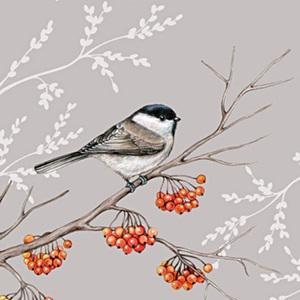 Szalvéta, Bird on branch grey
