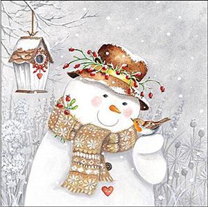 Szalvéta Snowman holding robin