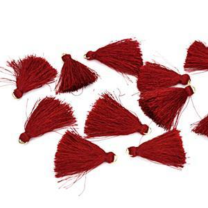 Textilbojt, piros. Mérete: 4,5 cm