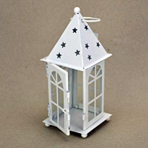 Csillagos fehér mécsestartó, fém, mérete: 70x70x170 mm