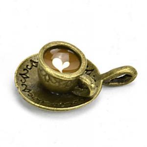 Medál cappuccino csészében, antik bronz. Mérete: 26x18 mm