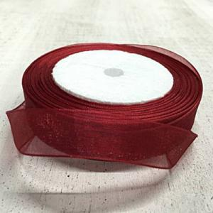 Organza szalag, bordó, szélessége: 15 mm