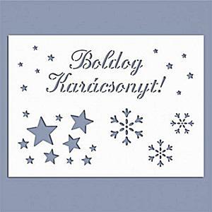 Stencil - Boldog Karácsonyt!, mérete: 14,5x20 cm