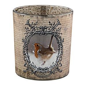 Üveg mécsestartó, madaras. Mérete: 7x8 cm.