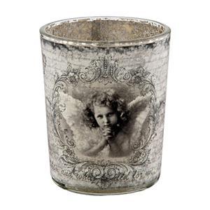 Üveg mécsestartó, angyalos. Mérete: 7x8 cm.
