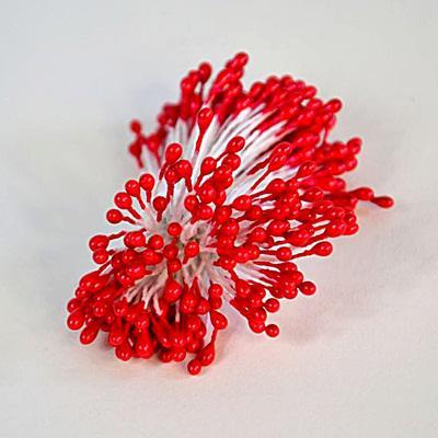 Virágbibe, piros színű,műa.+gipsz+fém,   5 szál/cs.