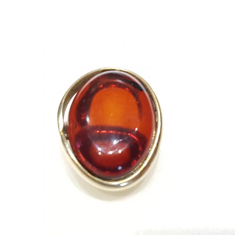 Aranyozott ezüst gyűrű borostyán kővel lengyel Jubilex állítható  346