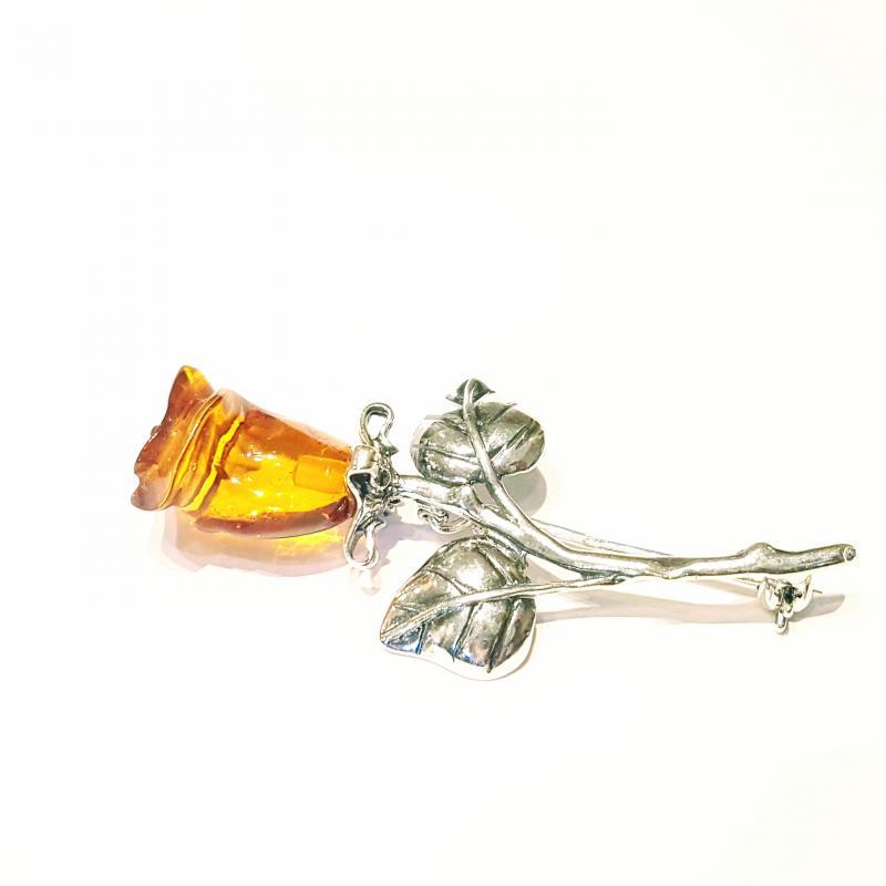 Borostyán ezüst bross faragott rózsa  Jubilex 482
