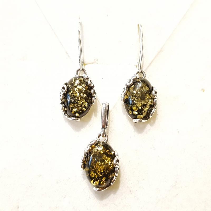 Borostyán ezüst fülbevaló és medál szett zöld Jubilex 829