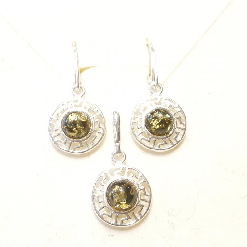 Borostyán ezüst fülbevaló és medál szett zöld Jubilex 840