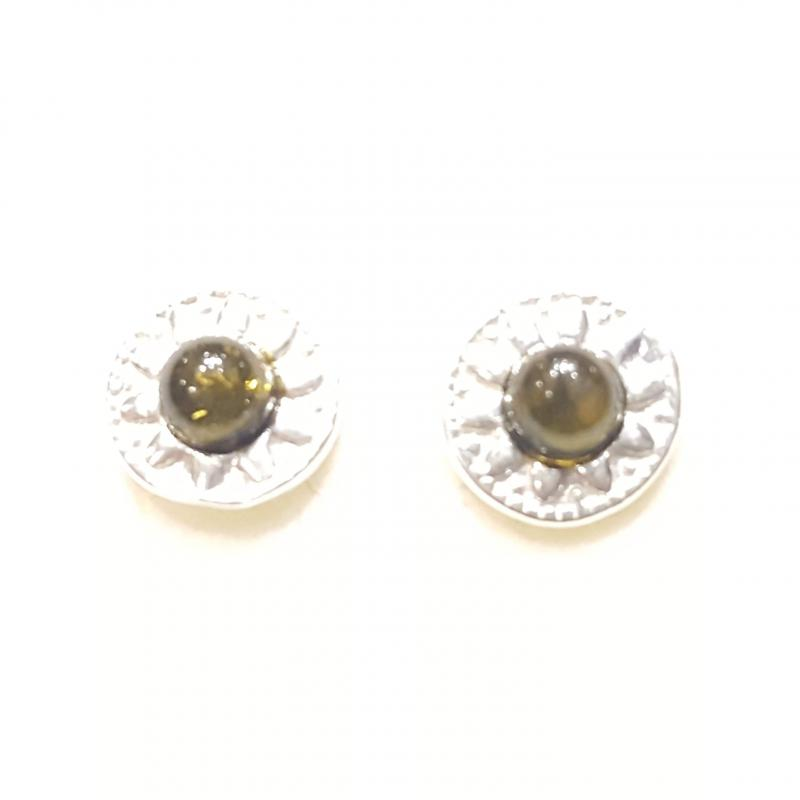 Borostyán ezüst fülbevaló stiftes zöld Jubilex 397