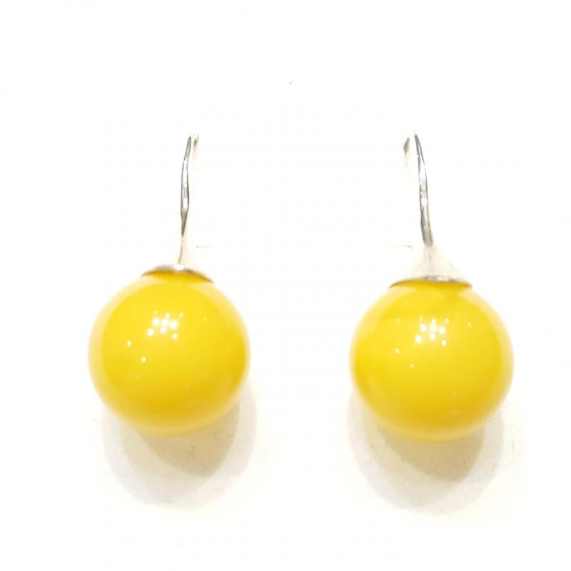 Borostyán fülbevaló gömb sárga opak lengyel Jubilex 243