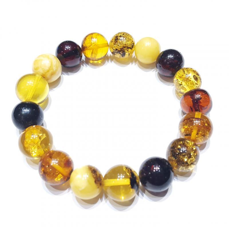 Borostyán karkötő szabályos gömb alakú gyöngyökből, gumis 570