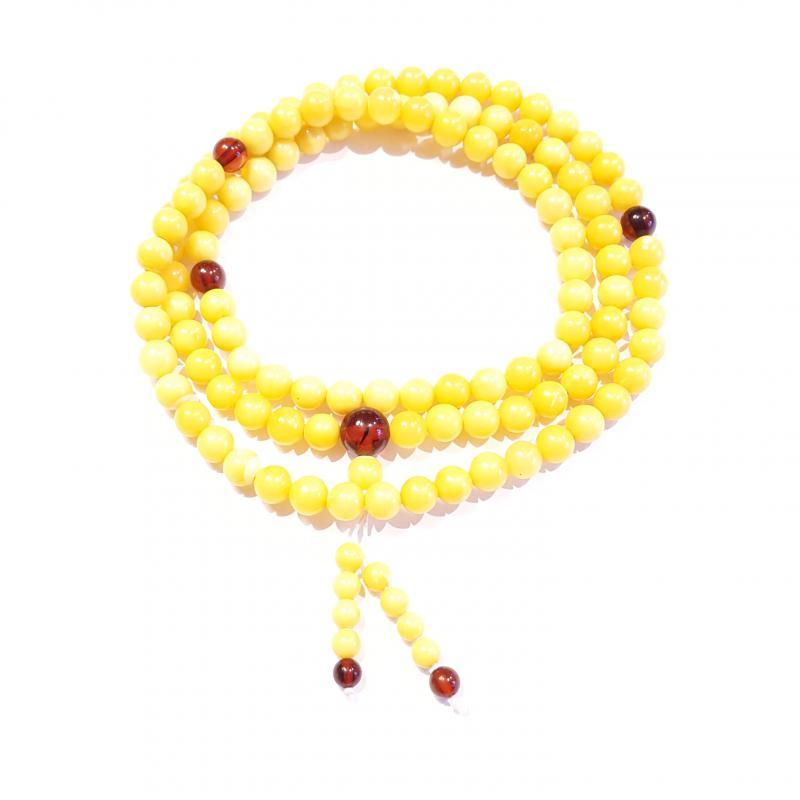 Borostyán mala 108 darab gyöngyből sárga opak 525.