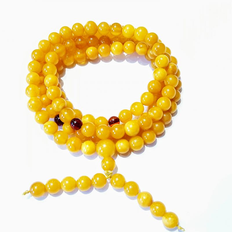 Borostyán mala 108 darabos gyöngysor karkötő sárga opak 616