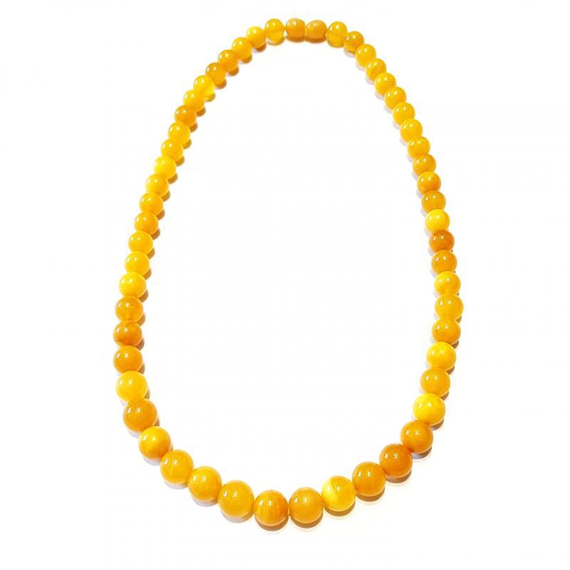 Borostyán nyakék gyöngysor sárga opak teljesen szabályos gömb alakú gyöngyökből 428