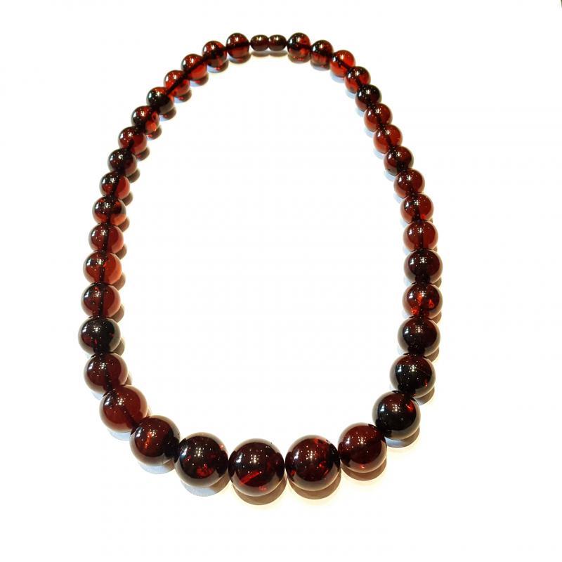 Borostyán nyakék gyöngysor teljesen szabályos gömb alakú gyöngyökből 451