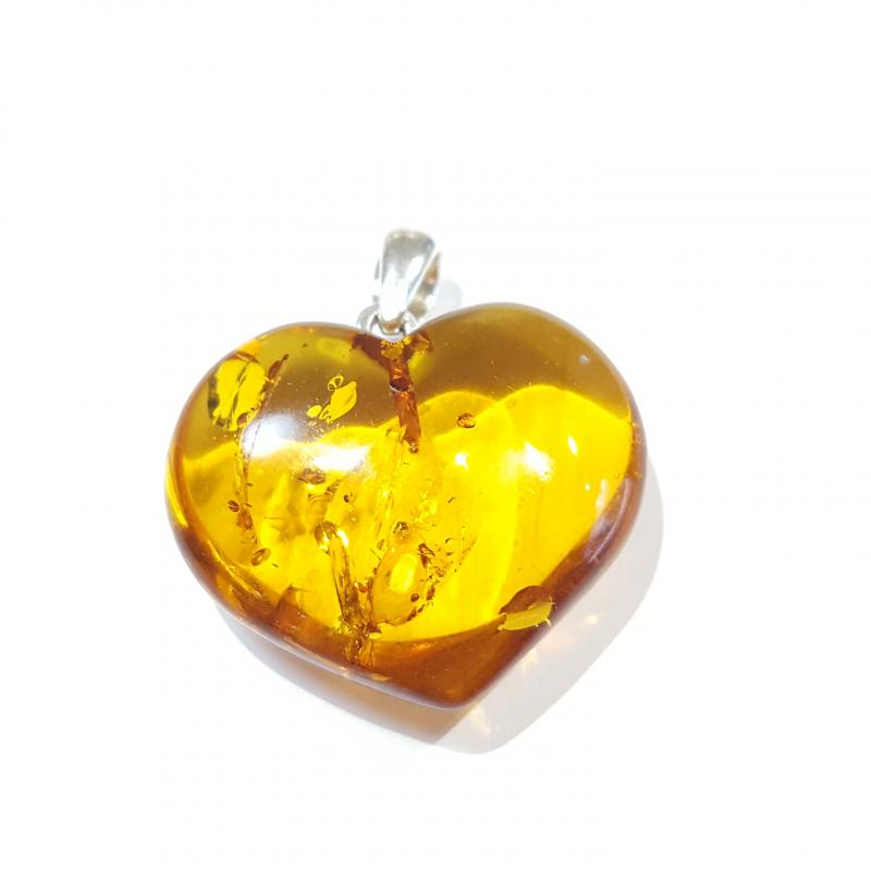 Borostyánkő medál szív egyedi lengyel Jubilex 312