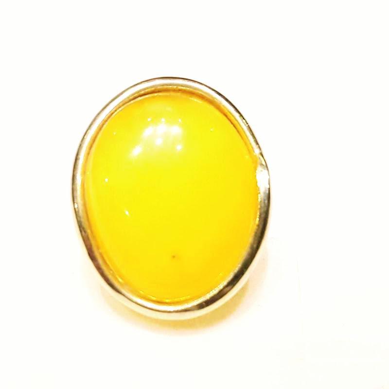Borostyánköves aranyozott ezüst gyűrű opak egyedi állítható méret 334