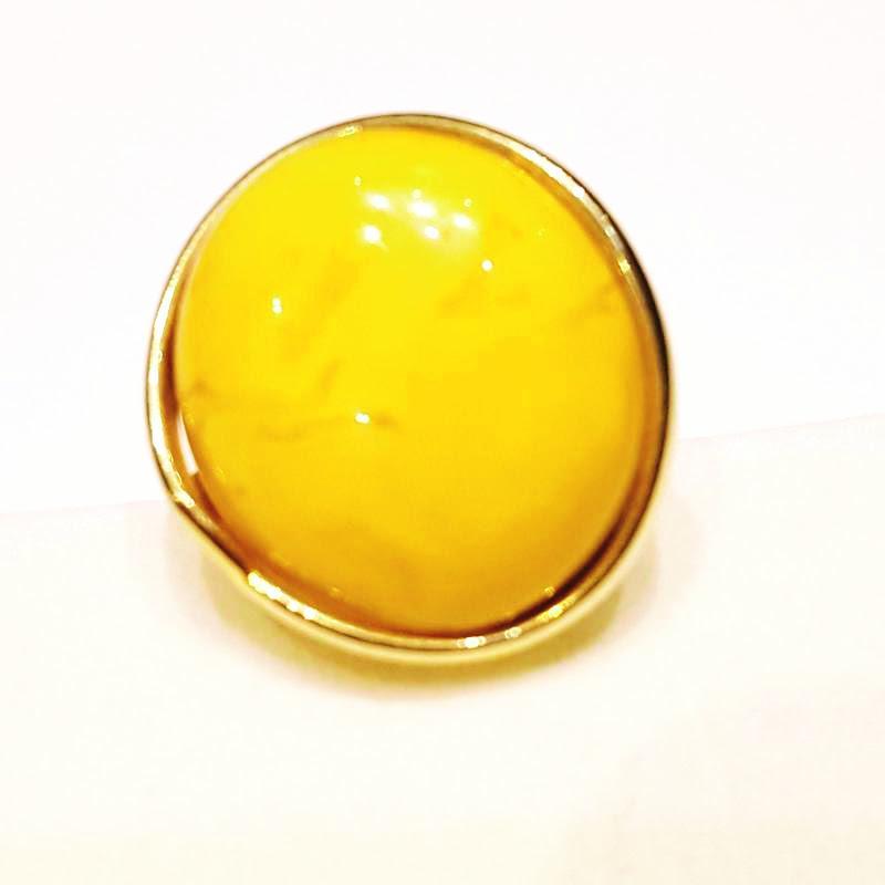 Borostyánköves aranyozott ezüst gyűrű opak egyedi állítható méret 335