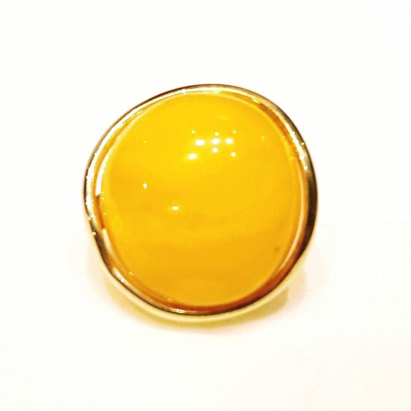 Borostyánköves aranyozott ezüst gyűrű opak egyedi állítható méret 339